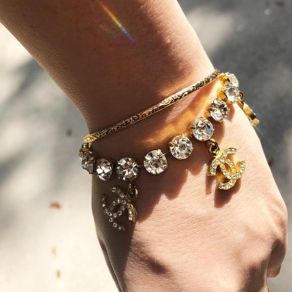 Chanel Jewelry Rare Vintage Rhinestone Cc Bracelet Poshmark